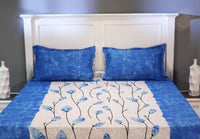 Clear Sky Poly Cotton Bed Sheet With 2 Pillow Covers