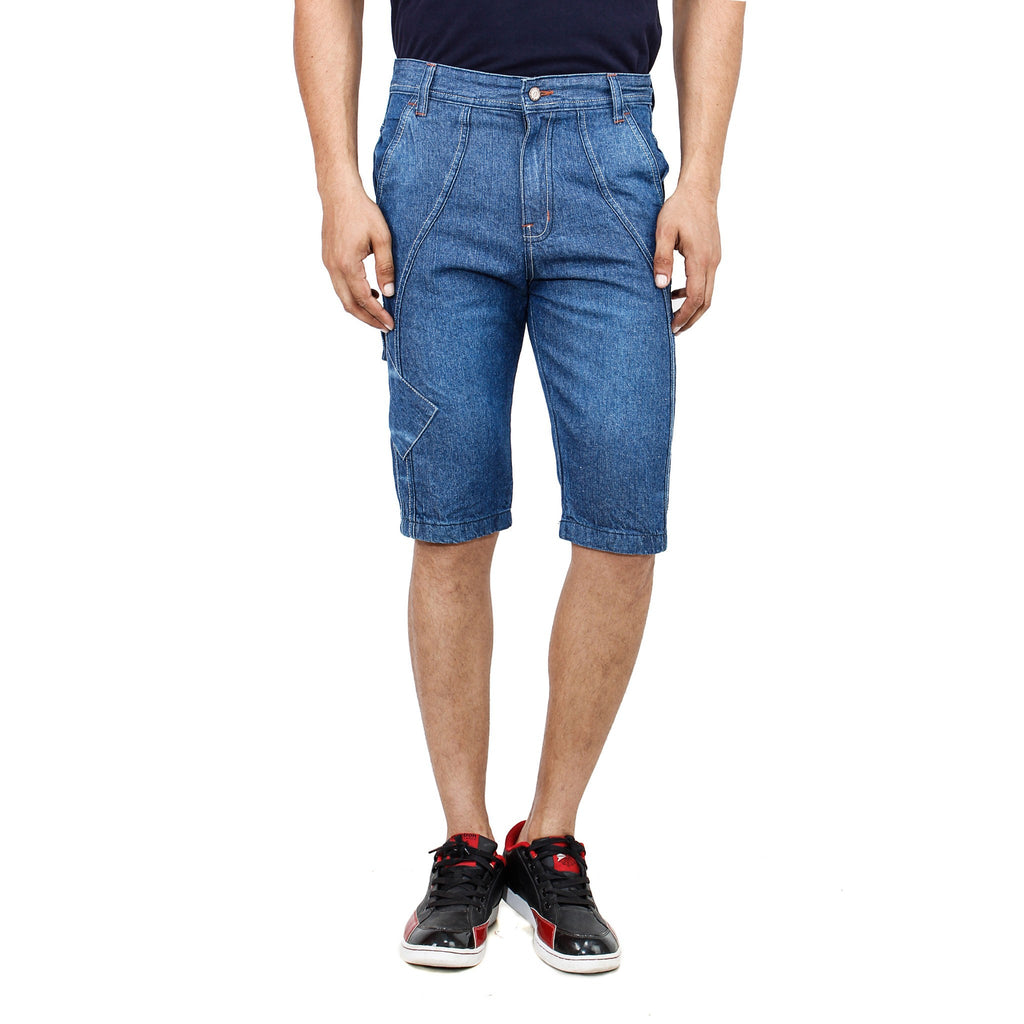 Uber Blue Denim Shorts front view