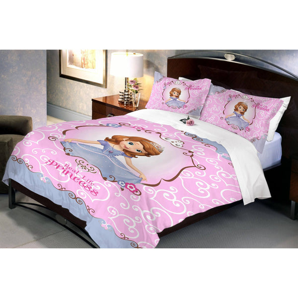 Disney Sofia Blossom Cotton Double Bedsheet With 2 Pillow Covers - uber-urban