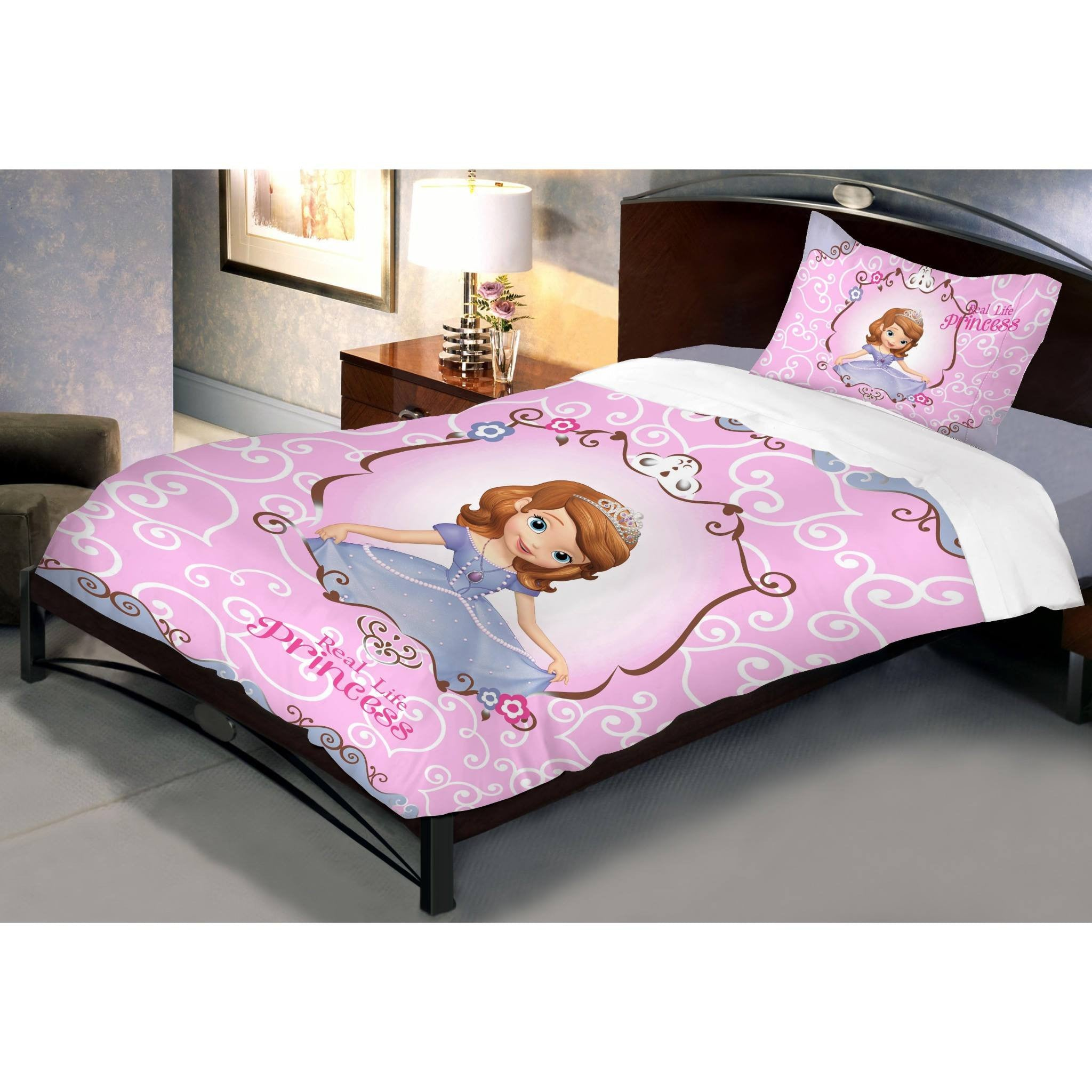 Disney Sofia Blossom Cotton Single Bedsheet With 1 Pillow Cover - Über Urban Bedsheet