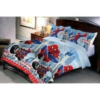 Flying Spidermen Microfiber Queen Size  Bedsheet With 2 Pillow Covers