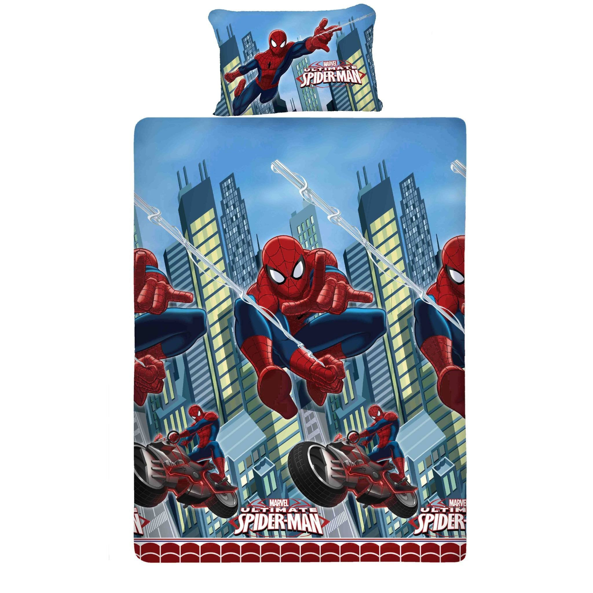 Spiderman Flying Single Bed Sheet And Pillow Cover Top View
