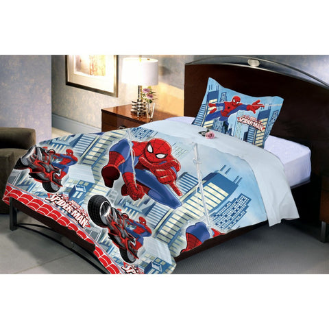 Spiderman Flying Single Bed Sheet And Pillow Cover Side View