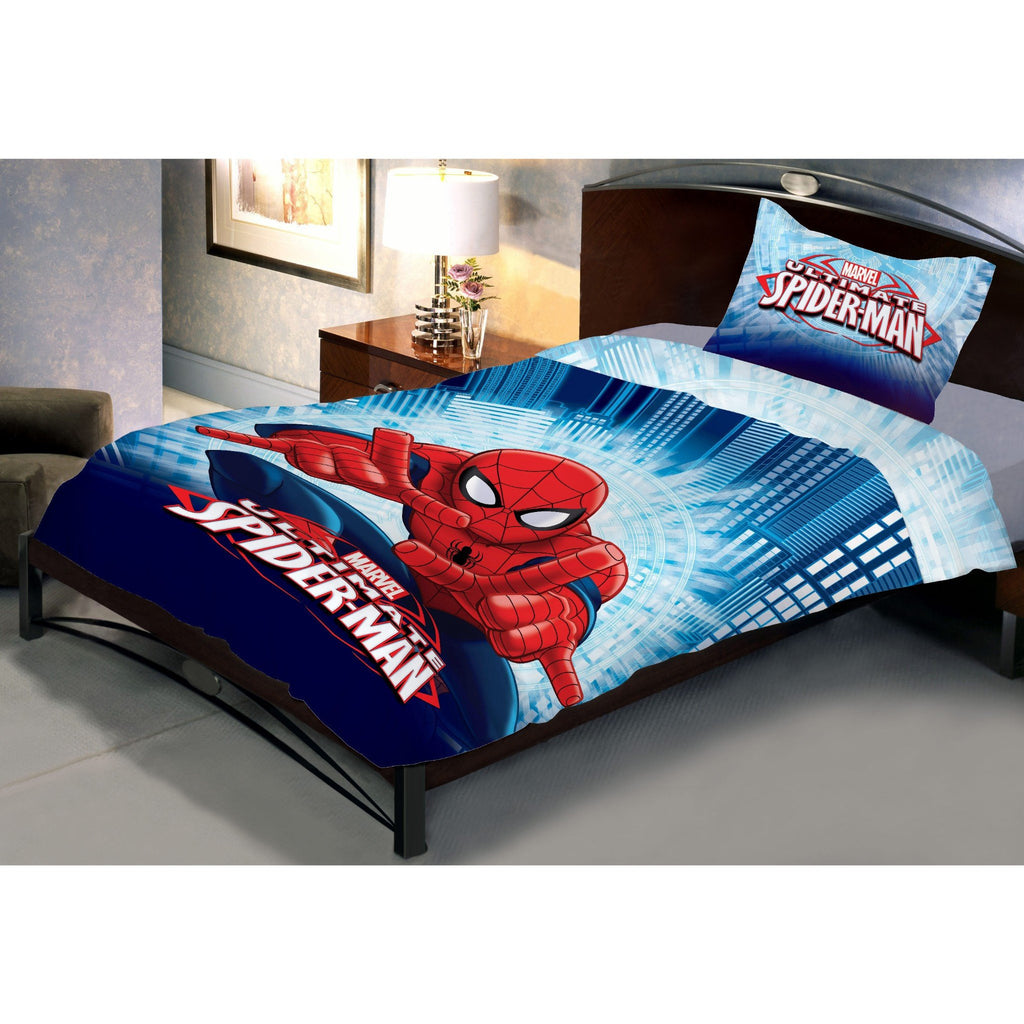 Fighter Spiderman Double Bedsheet With 1 Pillow Covers - Über Urban Bedsheet