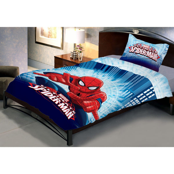 Fighter Spiderman Double Bedsheet With 1 Pillow Covers