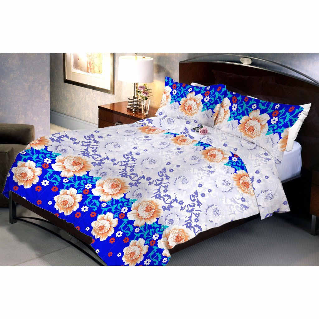 Mountain blue bed sheet and pillow covers