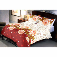 Browny Roses Bed Sheet And Pillow Covers (Queen)