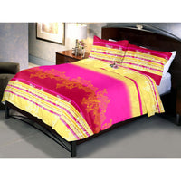 Red Magenta Bed Sheets And Pillow Cover (Queen)