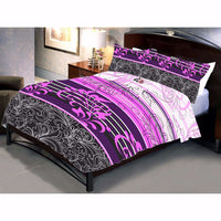 Magenta stripped bed sheet and pillow covers