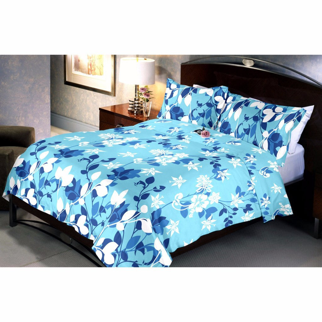 Blue trinity bed sheet and pillow covers