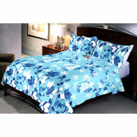 Blue Trinity Bed Sheet And Pillow Covers (Queen)