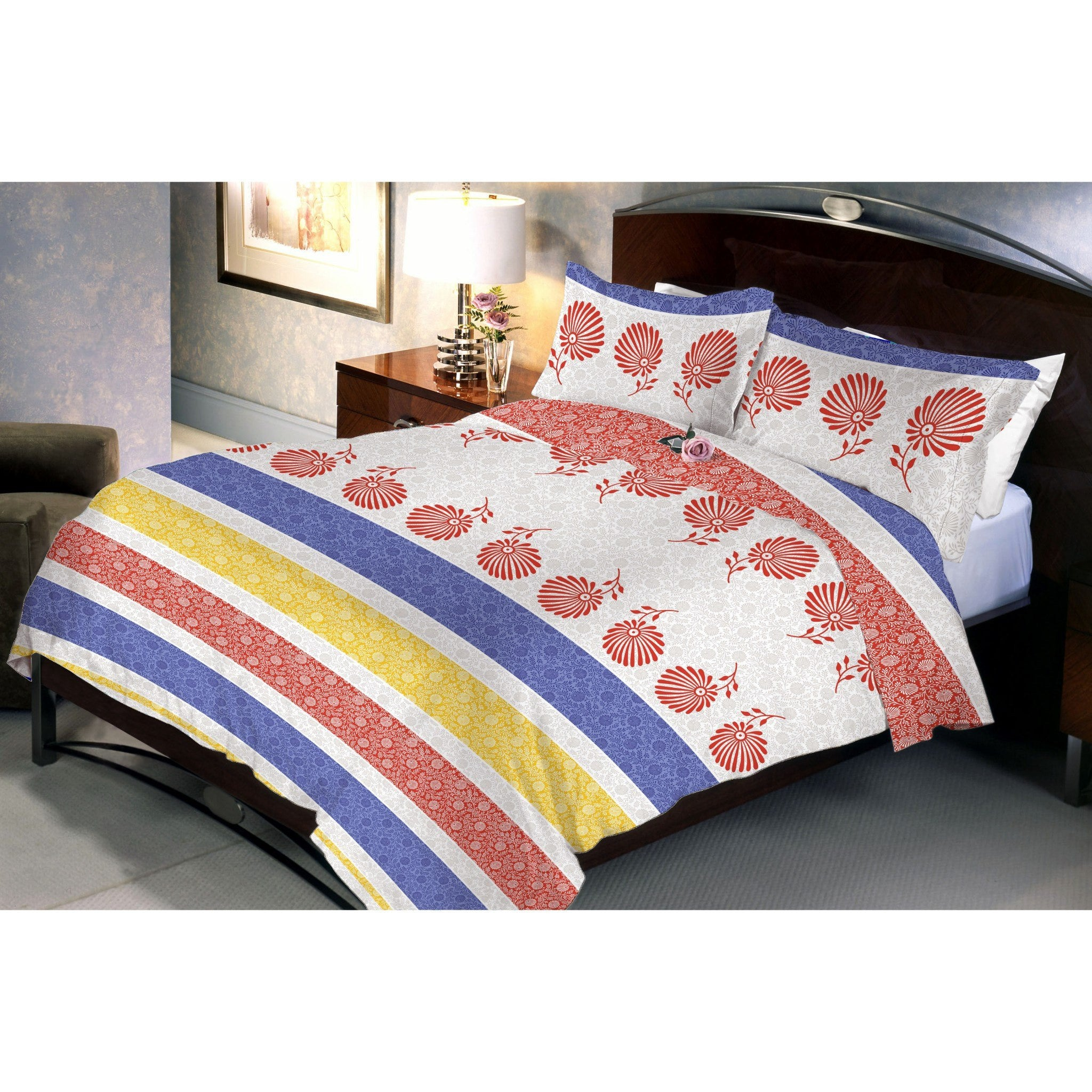 Triple stripped bed sheet and pillow covers