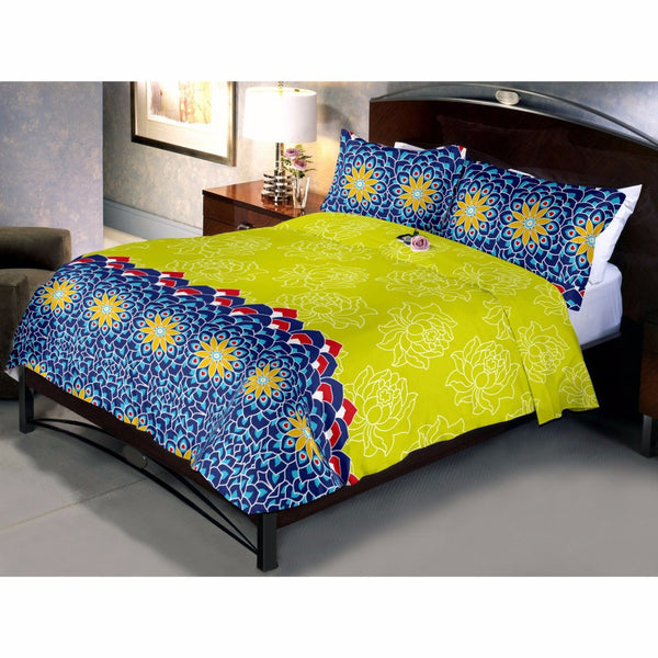 Yellow Lotus Bed Sheet And Pillow Covers (Queen)