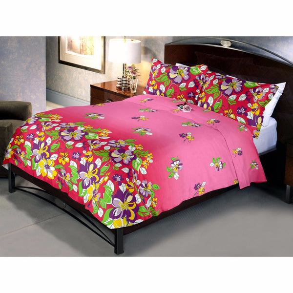 Reddish pink flowery bed sheet and pillow cover