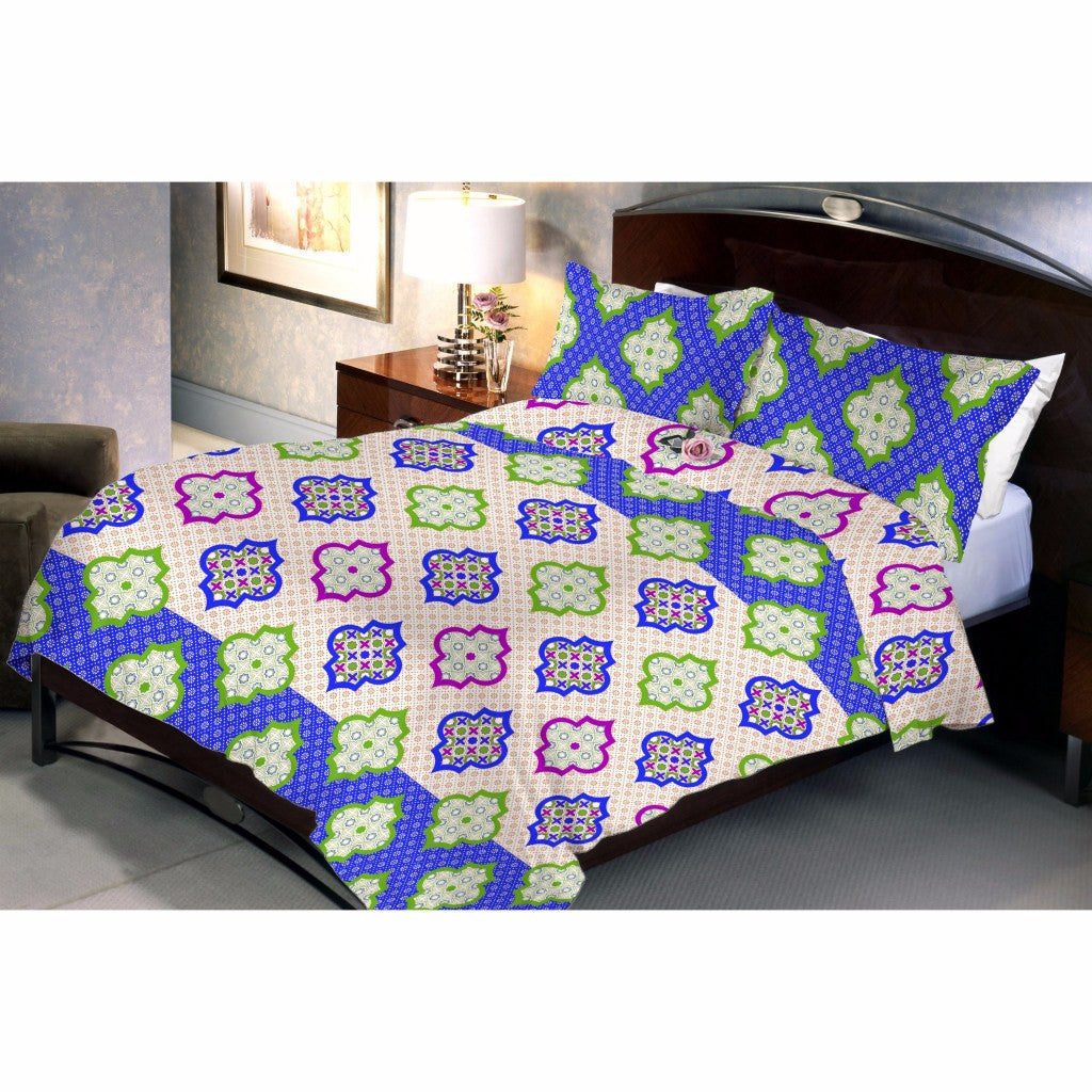 Moccasin blue bed sheet and pillow covers