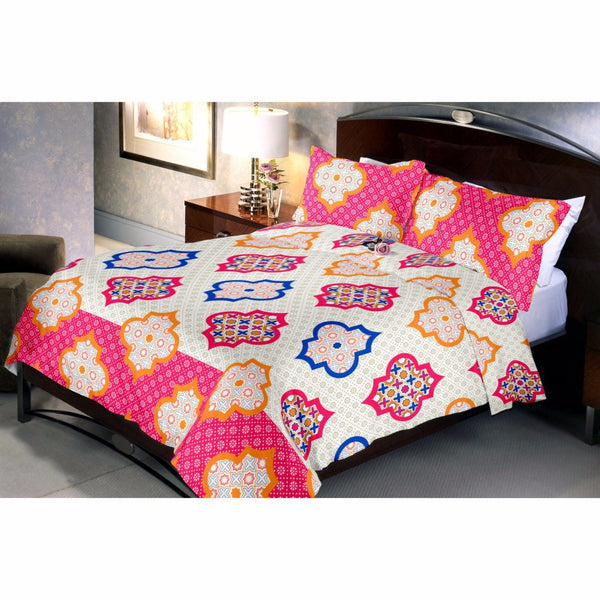 Cream Arc Square Bed Sheet With 2 Pillow Covers - uber-urban