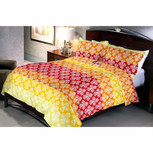 Bright Redellow Bed Sheet And Pillow Covers (Queen)