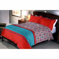 Red Turquoise bed sheet and pillow covers