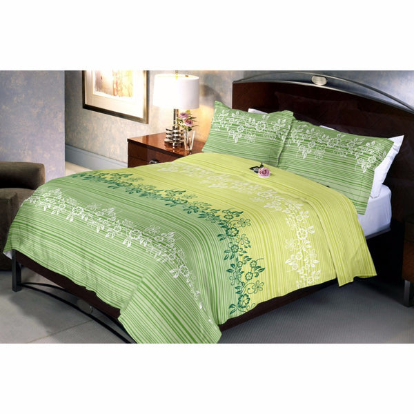 Herbal Green Bed Sheet And Pillow Covers (Queen)