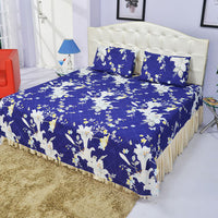 Deep Blue Bed Sheet And Pillow Covers (Queen)
