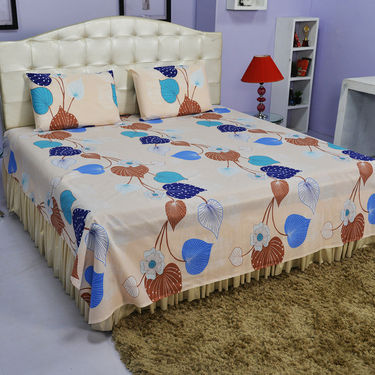 Cream Bed Sheet And Pillow Covers (Queen)