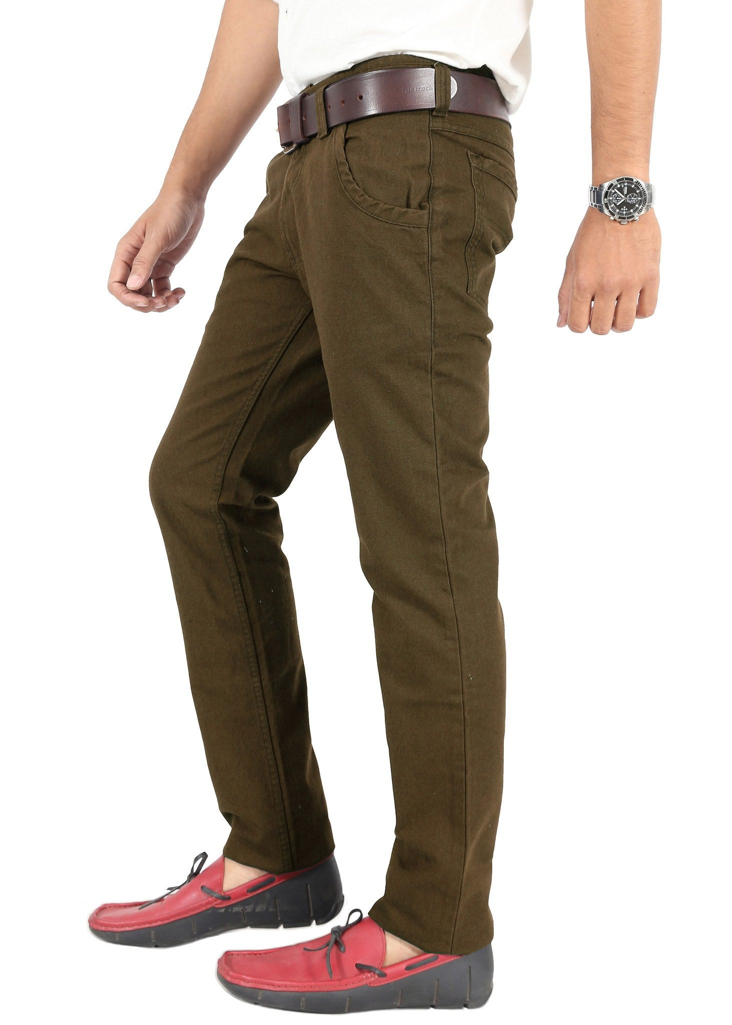 Olive Trouser side view