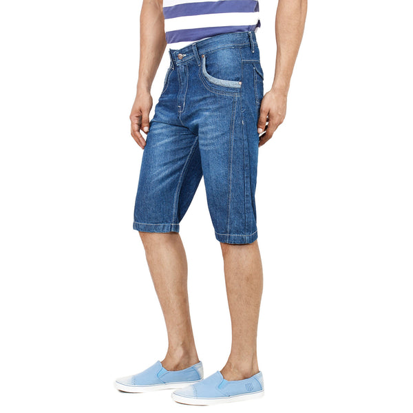 Uber Sea Blue Denim Shorts left side view