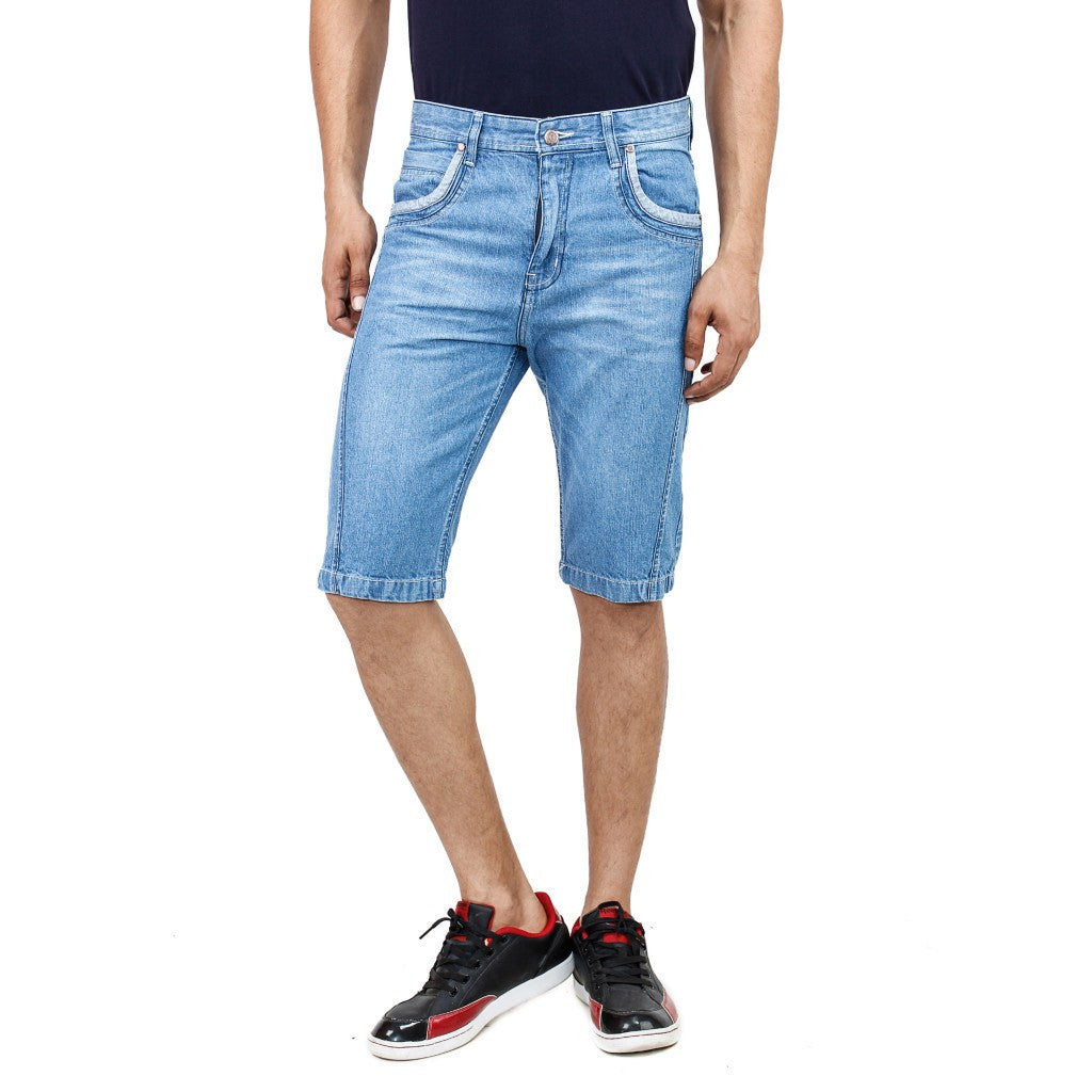 Uber Sky Blue Denim Shorts front view