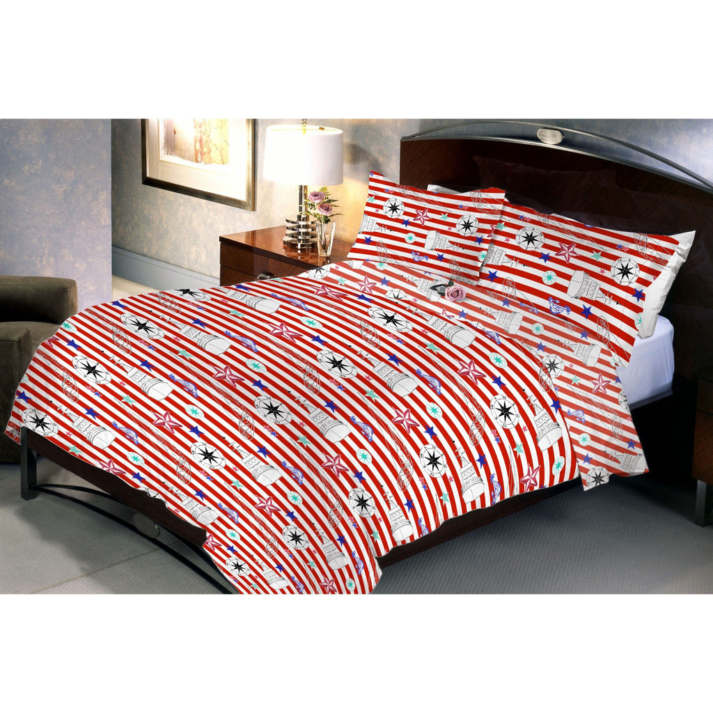 Red Stripped Queen Size Bedsheet With 2 Pillow Cover - Über Urban Bedsheet