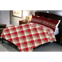 Cross Stripped Dark Red Poly Cotton Queen Size Bedsheet With 2 Pillow Cover