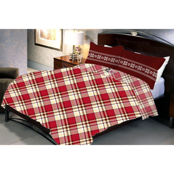 Cross Stripped Dark Red Poly Cotton Queen Size Bedsheet With 2 Pillow Cover - Über Urban Bedsheet