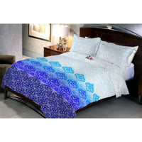 Blue Gradient White Queen Size Bedsheet With 2 Pillow Covers
