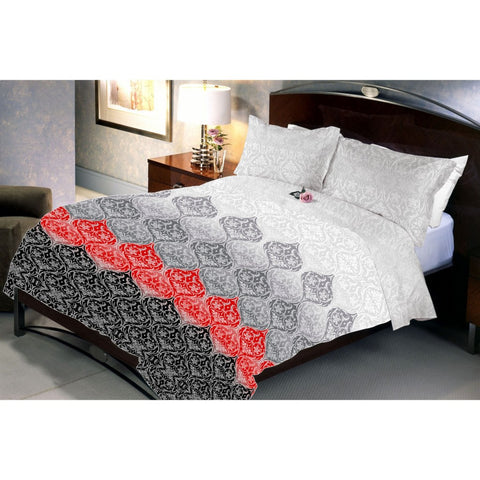 Black - Red Flower Bed Sheet With 2 Pillow Covers (Queen)
