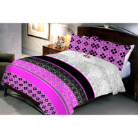 Magenta Black Queen Size Bedsheet With 2 Pillow Cover