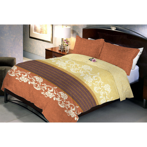 Dark Sandy Brown Queen Size Bedsheet With 2 Pillow Cover