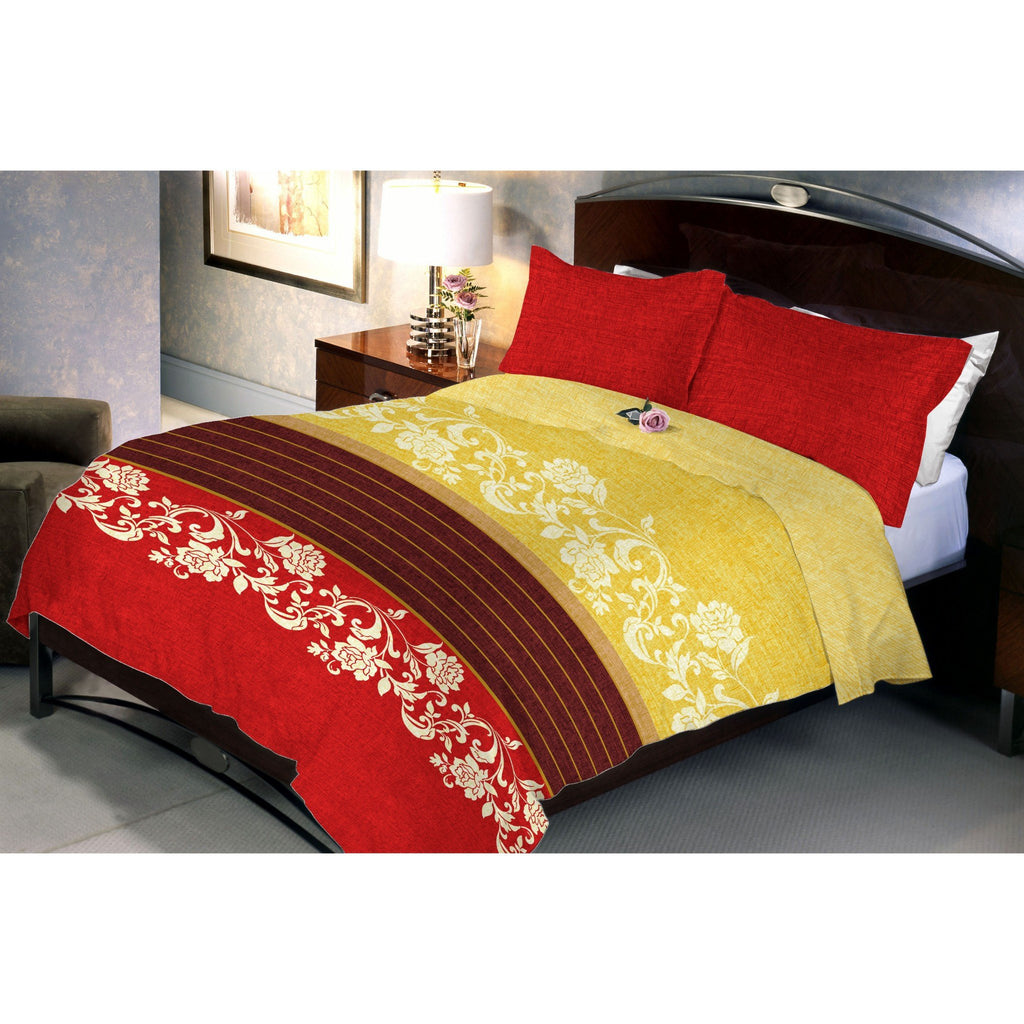 Crimson Yellow Queen Size Bedsheet With 2 Pillow Cover - Über Urban Bedsheet