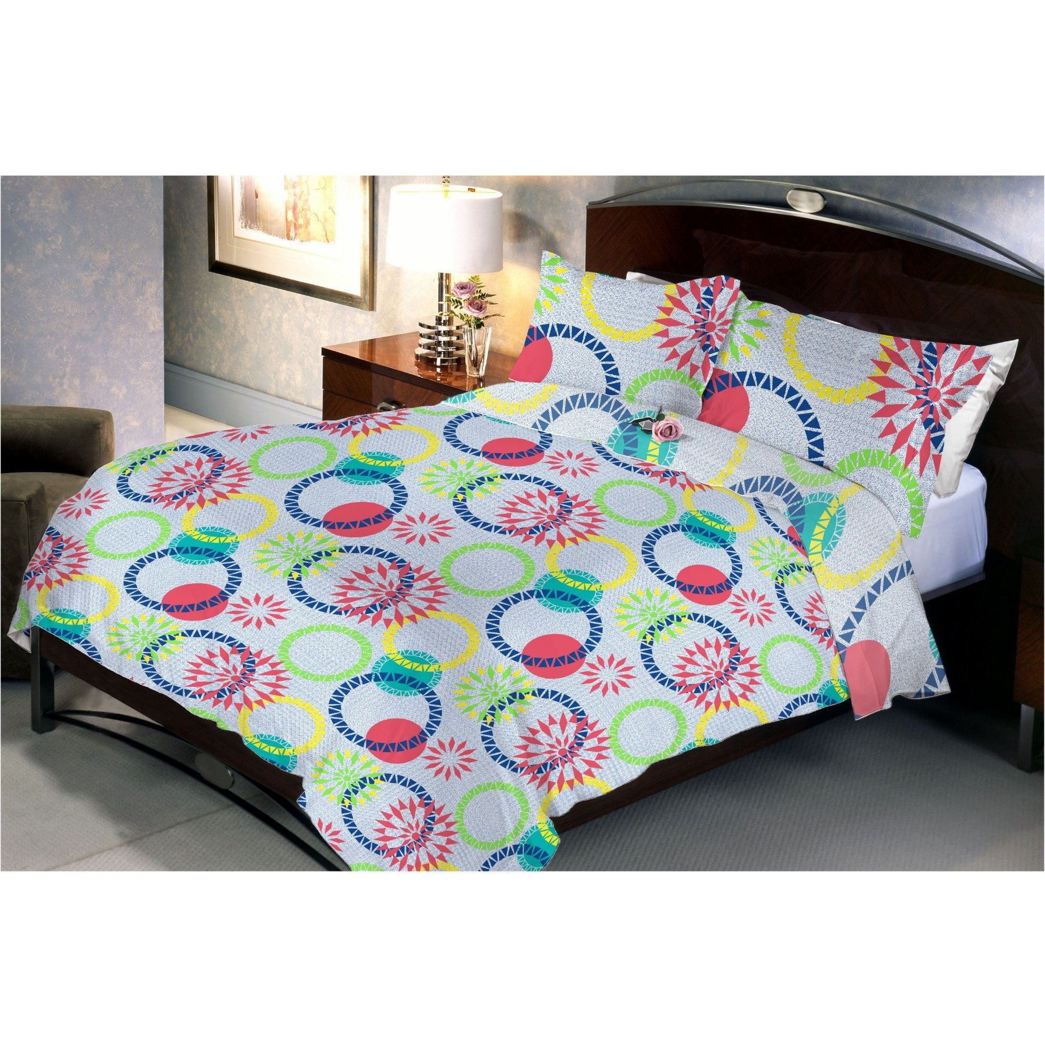 Coloured Ring Flowers Queen Size Bedsheet With 2 Pillow Cover - Über Urban Bedsheet