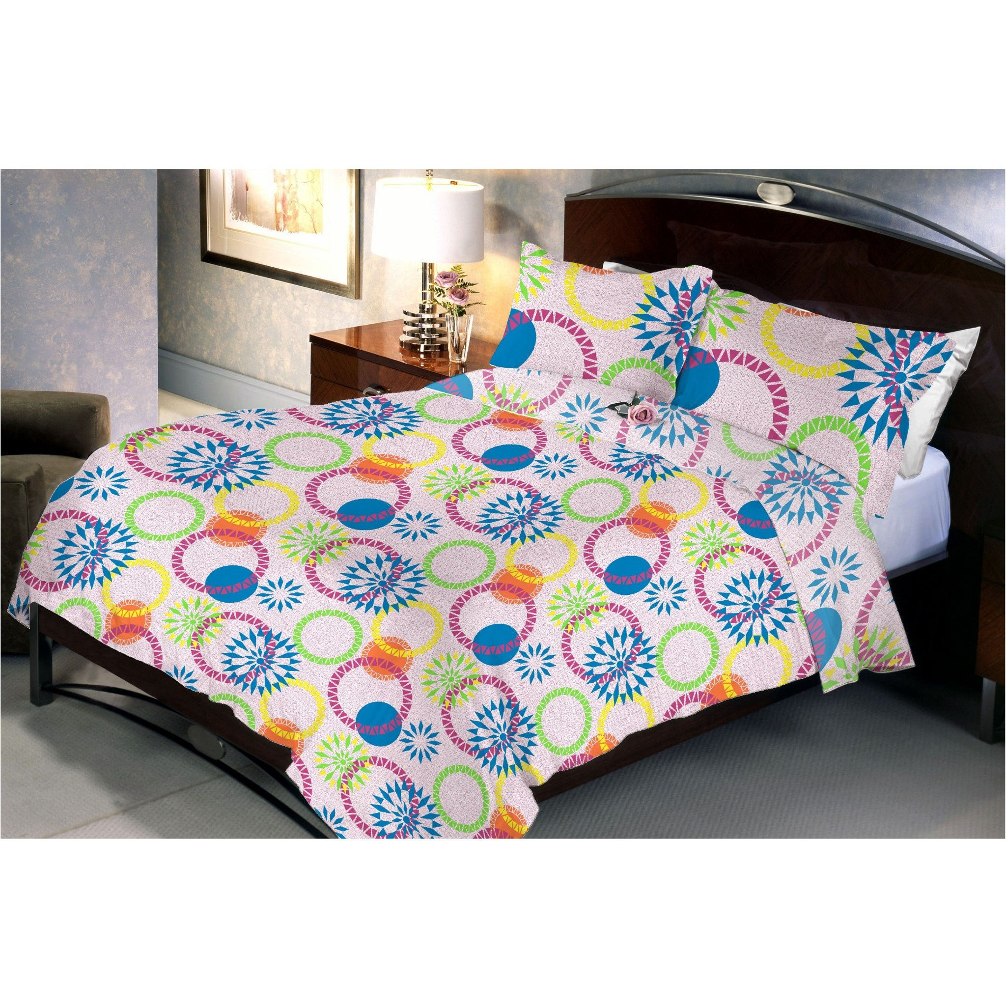 Coloured Ring Queen Size Bedsheet With 2 Pillow Cover - Über Urban Bedsheet