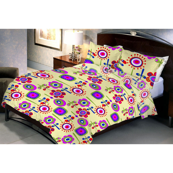 Cremo Flora Queen Size Bedsheet With 2 Pillow Cover
