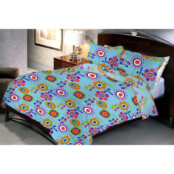 Aqua Flora Bed Sheet And Pillow Covers (Queen) - Über Urban Bedsheet