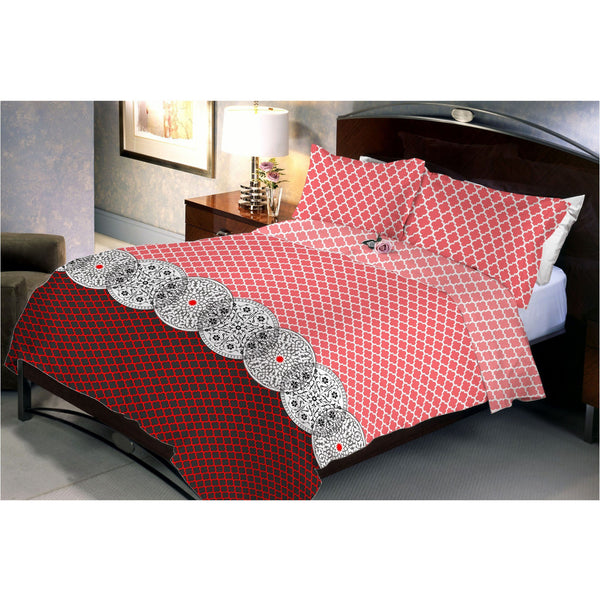 Red Flora Queen Size Bedsheet With 2 Pillow Cover