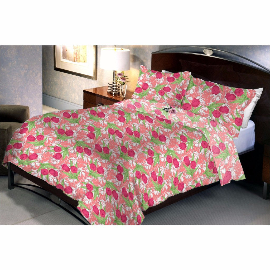 Salmon red roses bed sheet and pillow cover