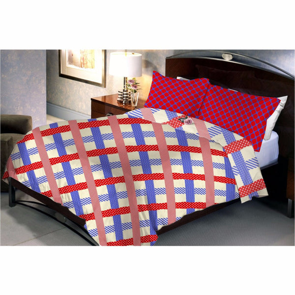 Diamond Square Red Bed Sheet And Pillow Covers (Queen)