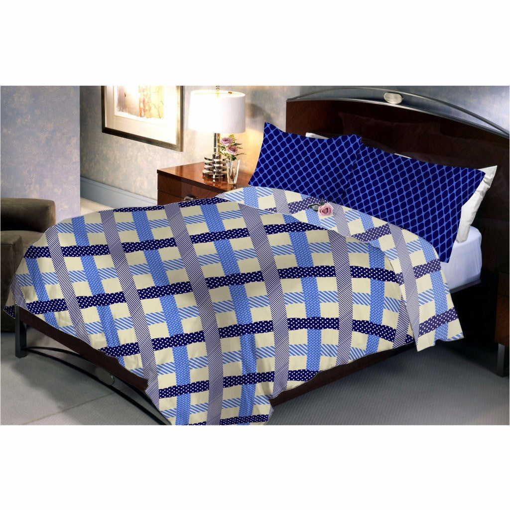 Diamond square blue bed sheet