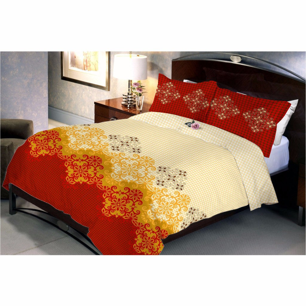 Peach red bed sheet