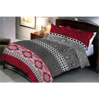 Maroon Black Bed Sheet With 2 Pillow Cover