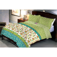 Garden Pond Cotton Queen Size Bedsheet With 2 Pillow Cover