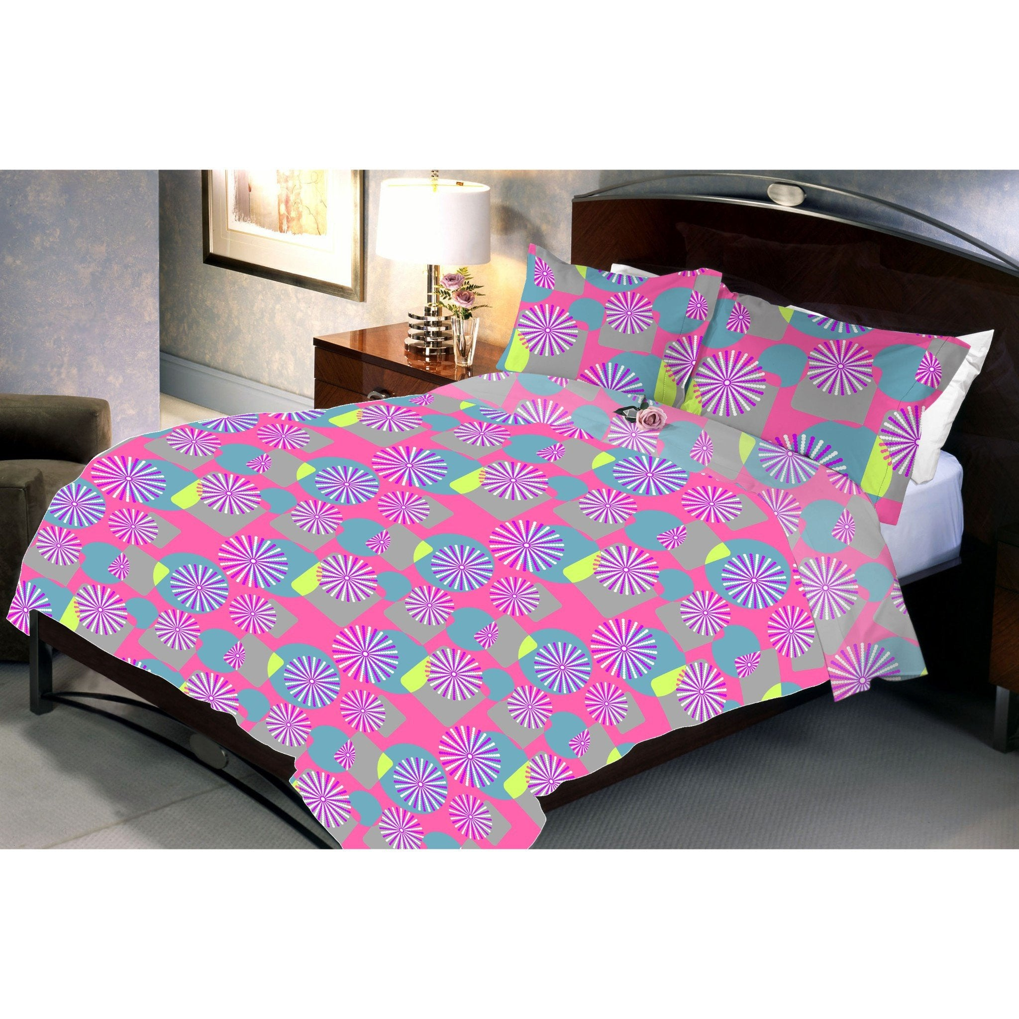 Pink Pond Cotton Queen Size Bedsheet With 2 Pillow Cover - Über Urban Bedsheet