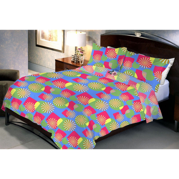 Flower Pond Cotton Queen Size Bedsheet With 2 Pillow Cover - uber-urban