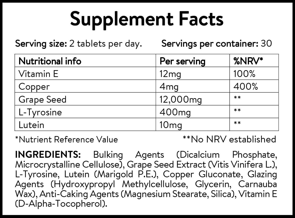 Skin Woof Tan Enhancing Vitamins supplement facts